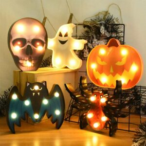 Halloween Decoration Pumpkin Spider Bat Witch Ghost Skull Led Light Night Lamp for Room Home Decor Festival Bar Party Supplies 1
