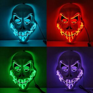 Halloween Costume Cosplay LED Glow Mask Scary EL Wire Light Up Grin Masks For Festival Parties Decoration 1