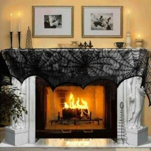 Halloween Decoration Lace Spider Web Skeleton Skull Tablecloth Black Fireplace Mantel Scarf Event Party Decoration Supplies 3