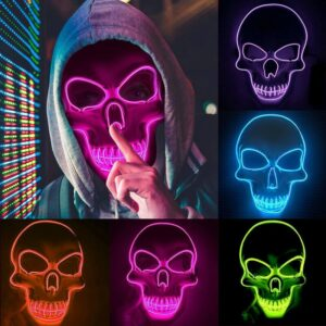 Halloween Cospaly Skull Luminous Masks EL Wire Cold Light Facial Mask Decoration Easter Masquerade Carnival Party LED Masks 2